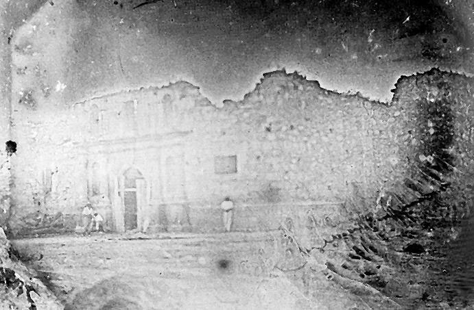 How it was the church of Alamo in a 1850 daguerreotype