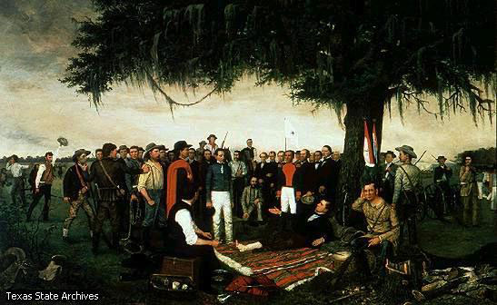 The deferat of General Santa Anna after the San Jacinto battle
