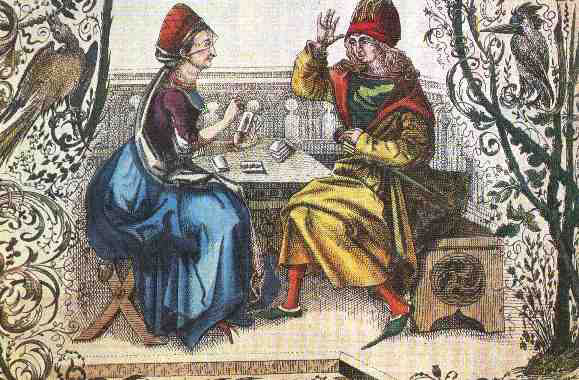 Medieval illustration representing a man with a fortune-teller