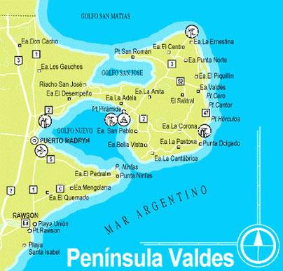 La cartina della penisola di Valdés in Argentina