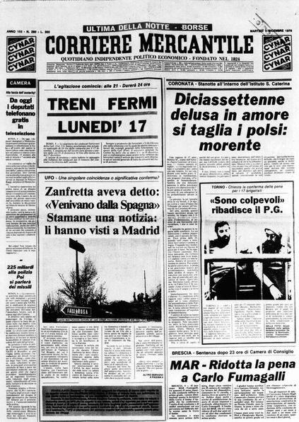 L'edizione del Corriere Mercantile di Martedì 4 Dicembre 1979 con la notizia di Zanfretta