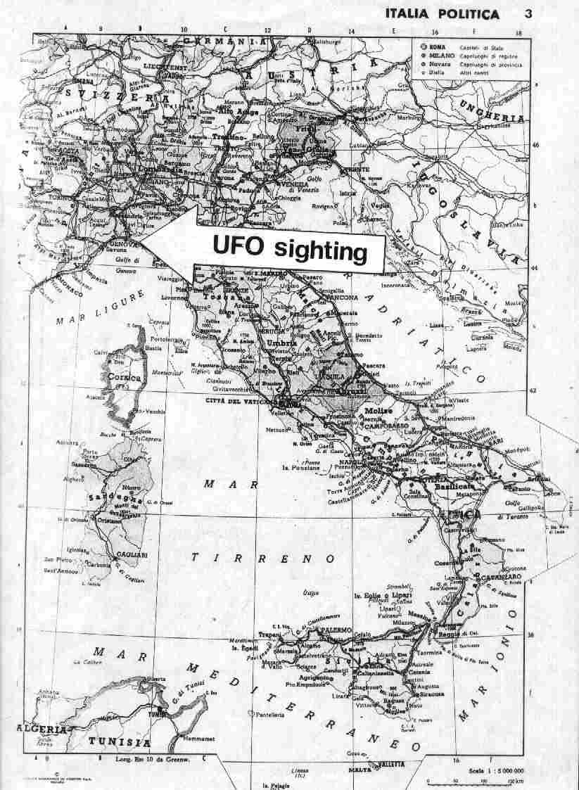Location of the UFO sighting